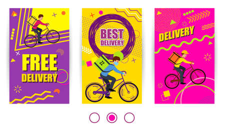 Free delivery and Best delivery text. Set Banner delivery with courier on bike. Modern design web banner for social media mobile apps. Bright promo backgrounds with abstract geometric elements.