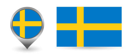 Vector flag Sweden. Location point with flag Sweden inside. Illustration