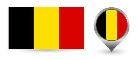 Vector flag Belgium. Location point with flag Belgium inside.