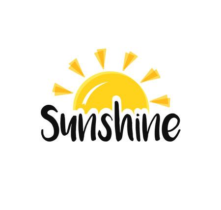 Sun end word sunshine. Concept Sunset or sunrise. Illustration