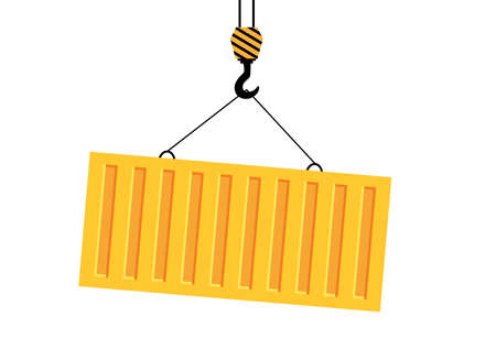 Bright yellow cargo in container lifts on winch. Unloading or loading cargo.