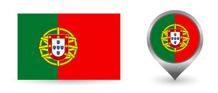 Vector flag Portugal. Location point with flag Portugal inside.