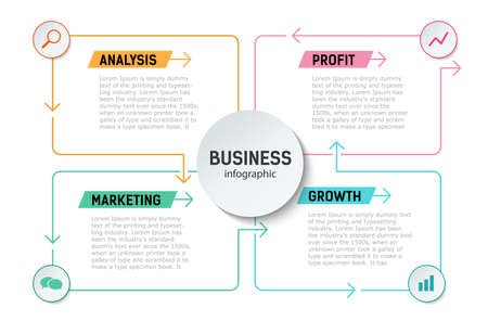 Business infographics. analysis, growth, profit, marketing. Arrows