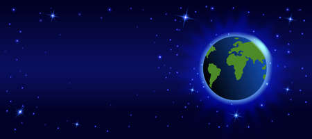 Space dark background with planet earth and stars. Banque d'images