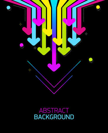 Bright abstract background with rainbow arrows on black background.