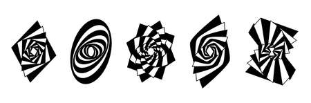 Set striped graphic shapes swirling in loop. Black and white shapes Illustration
