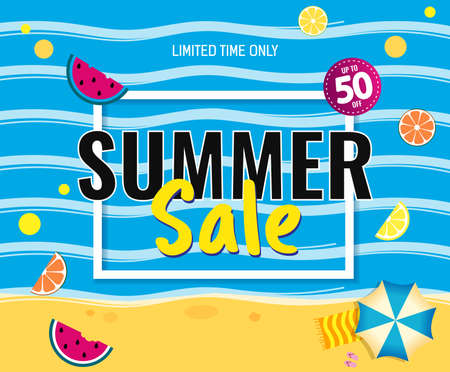 Text Summer Sale. summer beach with fruit. Bright Sale banner