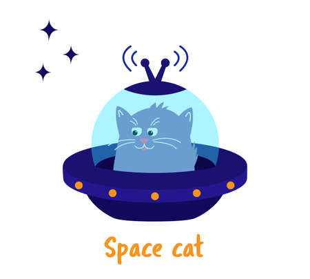 Space cat. Cute pet kitten is flying on a spaceship.