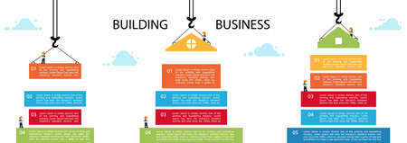 Set building infographic. tower crane and building color block. Illustration