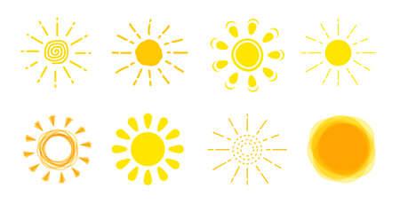 Sun icon set. Yellow sun sign collection. Illustration