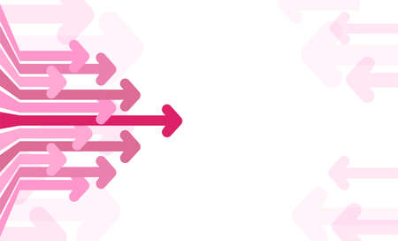 Abstract background with pink arrows on white. The arrows move to the right. Concept of moving forward. Vector illustration.