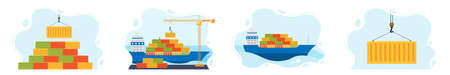 worldwide cargo delivery by water. Loading and unloading cargo, Maritime Ship sails on the ocean. Set concept sea freight transport. shipping cargo. Vector flat illustration