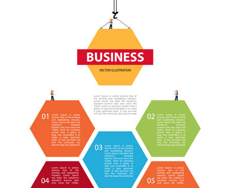Tower crane builds building. Infographic Concept of building business. infographic of 5 steps. Crane and building color block hexagon. Vector Illustration.
