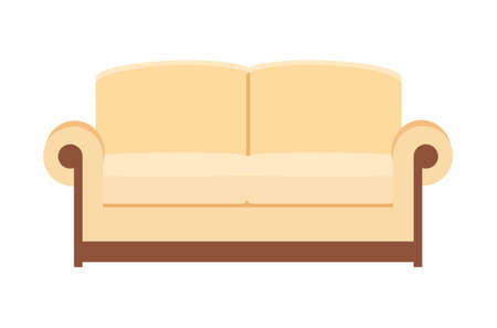 beige Sofa isolated on white. Sofa icon for interior house. Vector illustration in flat style. Illustration