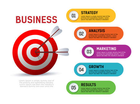 Infographics goals Business goals. Strategy, analysis, growth, result, marketing.