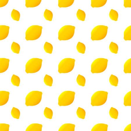 Bright seamless pattern with ripe yellow lemon. lemon citrus pattern isolated on white