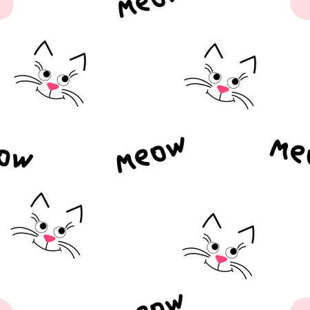 Cute kitty muzzle. Seamless pattern on pink background. 矢量图像