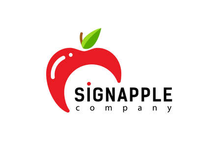 Red sign apple. Modern and simple logo design. Vector icon fresh apple.