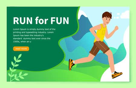 Website Concept of a healthy lifestyle. Run to fun. Young man runs through
