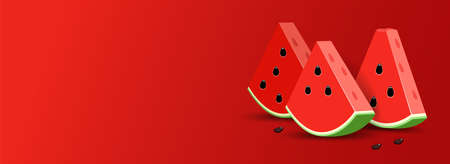 Red Summer template banner with Watermelon. 3D slice Watermelon in realistic stile. 矢量图像