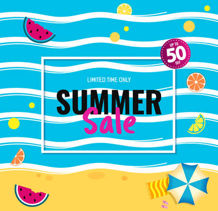 Bright Sale banner, template design with summer fruit and abstract sea. 矢量图像