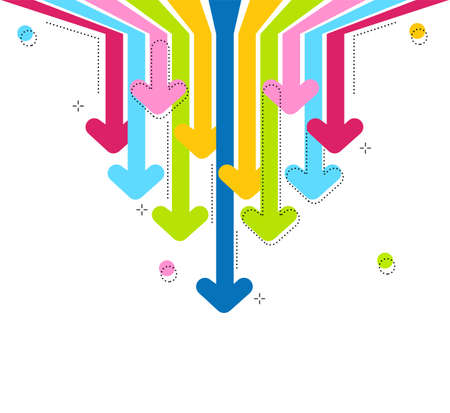 Bright Abstract rainbow arrows on white backdrop. Arrows move to down. 矢量图像