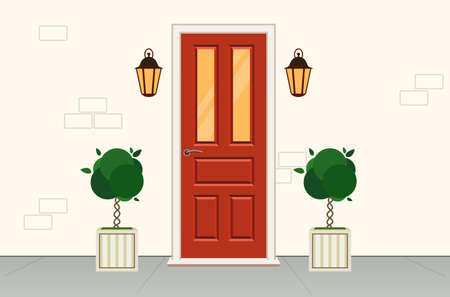 Facade of the building, white wall with red door. Front red door house, office or store. Vector  illustration in flat style.Exterior entrance door