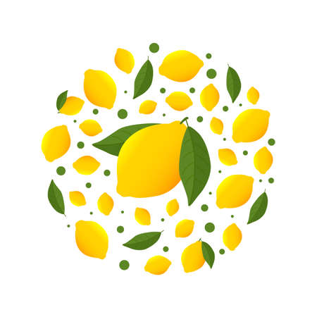 Circle pattern with yellow Lemons. Bright design for printing on plates. citrus