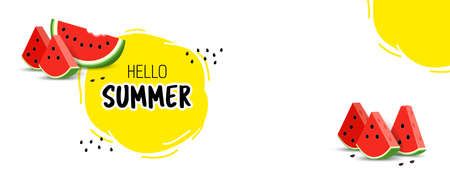 Summer banner. With juicy watermelon slices and a place for the text. Yellow sun.