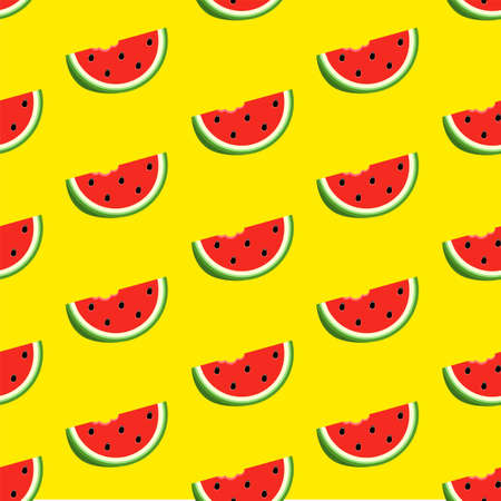 Seamless pattern with red half watermelon on yellow background. 矢量图像