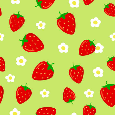Seamless pattern with Bright red strawberries and strawberry flower on green background. 矢量图像