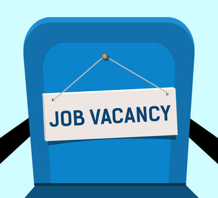 Sign on blue chair, job vacancies. Concept, free of vacancies in the office.