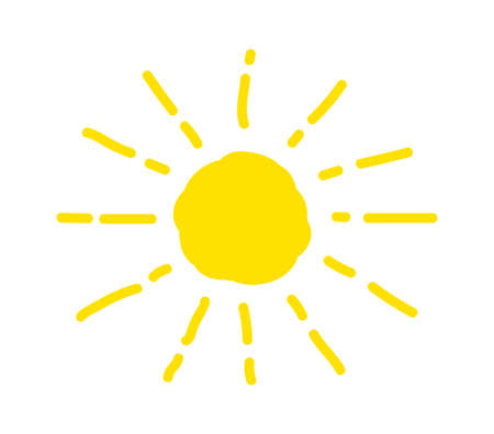 Sun is drawn by child. Funny vector doodle suns. Hand drawn. Summer, sunlight.