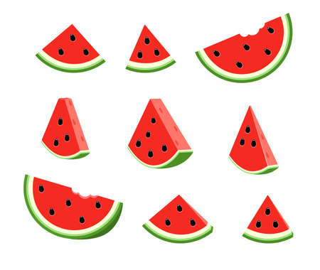 Set flat illustration watermelon slice. Half watermelon with seeds. 矢量图像