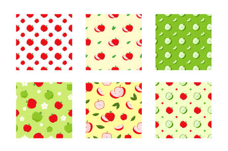 Set pattern with red and green apple. ripe apples pattern on white and yellow background.