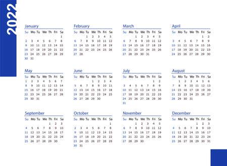 Horizontal blue pocket calendar on 2022 year. Vector template