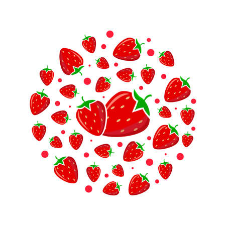 Circle pattern with red strawberry. Bright design for printing on plates.