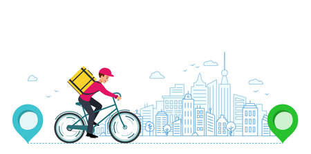 Courier takes order around city from store to house. From one point to another. 矢量图像