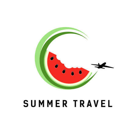 Red watermelon in circle and plane. Icon for travel company. 矢量图像