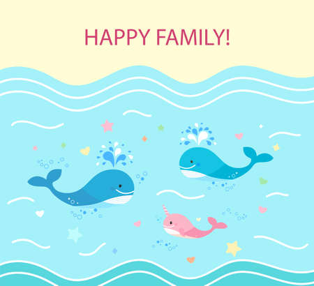 Square Card, happy family of whales. Dad is blue whale, mom and cub. floating on the sea.