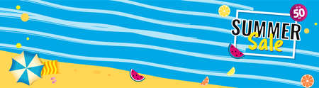 Bright Sale wide banner, template design with summer fruit and abstract sea. 矢量图像