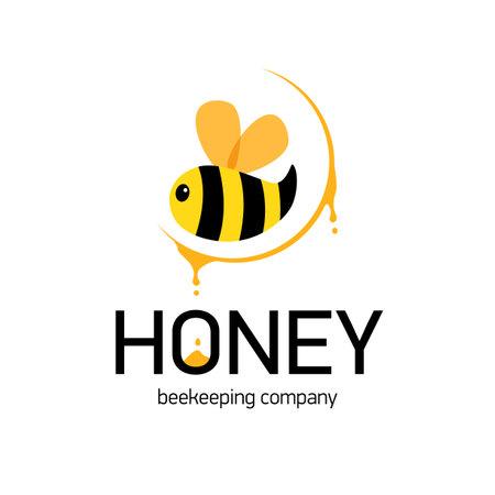 Symbol for honey producer company. Cute striped Bee.