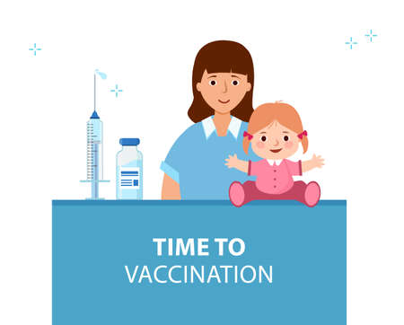 Mom and child are waiting for vaccination. Vaccination of children. 矢量图像
