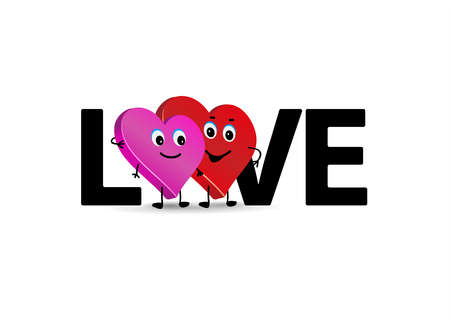Word Love and couple. Two loving hearts couple. Cute characters of lovers. 矢量图像