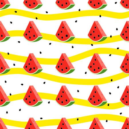 Fresh slice watermelon seamless pattern. juicy watermelon pattern