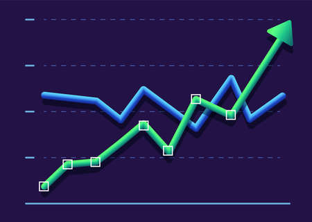Abstract financial chart with two line moving up. Modern design Green and blue
