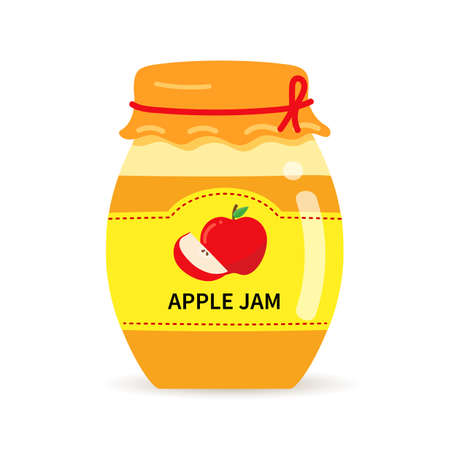 Glass jar with homemade apple jam. Label with apples on a jar of confiture. 矢量图像