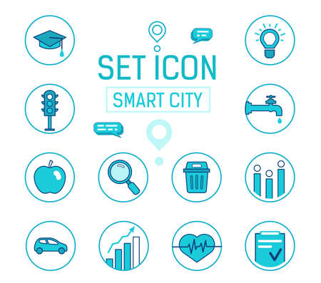 Set icons smart city. Vector blue icons. filled lines style