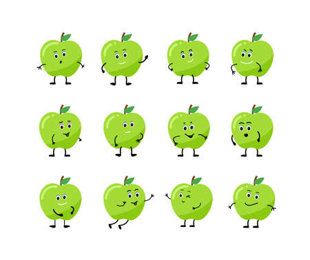 Set Cartoon character apple With different emotions. 矢量图像