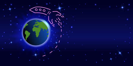 Doodle Rocket flying around the earth. Space dark background with planet earth and stars 矢量图像